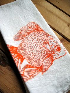 Screen Printed Organic Cotton Goldfish Flour Sack Tea Towel - Awesome Kitchen Towel for Dishes. $8.00, via Etsy.