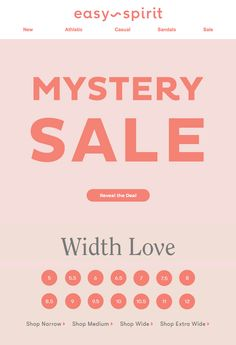 Easy Spirit Mystery Sale Promotional Email on Behance Type Design, Graphic Design, Sale Emails, Best Email, Sale Promotion, Email Design, Sandals For Sale, Holiday Sales, Social Media Design