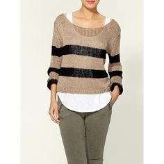 Brandy & Melville Gina Pullover Stripe Sweater ❤ liked on Polyvore featuring tops, sweaters, women, striped boatneck sweater, sweater pullover, brown striped sweater, sheer sweater and brown sweater