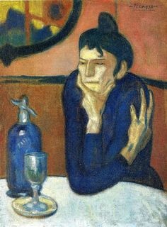 Pablo Picasso - The Absinthe Drinker Titulo original: Amant de l'absinthe 1901 Expresionismo Periodo Blue óleo, canvas 54 x 73 cm Museo Hermitage - Kunst Picasso, Art Picasso, Picasso Paintings, Henri Matisse, Georges Braque, Absinthe Drinker, Maurice De Vlaminck, Most Famous Paintings, Hermitage Museum