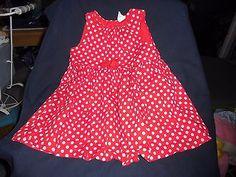 alte-Puppenkleidung-suesses-grosses-Sommerkleid-rot-mit-weissen-Punkten