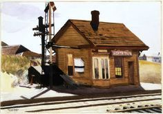 Edward Hopper - North Truro Station, 1930 Albright-Knox Art Gallery (American, 1882-1967)