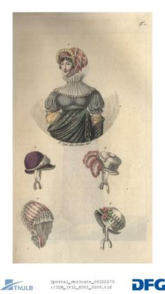 Dame en demi-parure. 2 - 5 Tasty riding hat. Capote from white velvet. Bonnet of Petinet. Capote of white velor. January 1812
