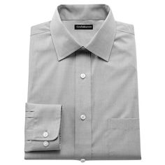 Men's Croft & Barrow® Fitted Easy-Care Spread-Collar Dress Shirt, Size: 17.5 36/37, Black