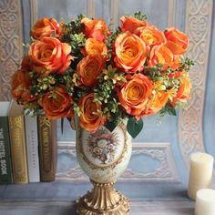 GNW FL-RS28-15-4C Cheap Sale New Colour orange Rose Artificial Flower For hotel decoration