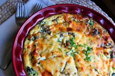 Skinny Points Recipes » Crustless Spinach, Onion and Feta Quiche