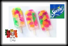 Sprite & Gummy Bears freeze into an adorable popsicle for kids parties or summer!