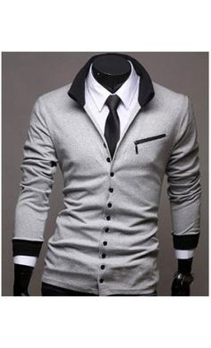 Men's Collared Contrast Cardigan in Charcoal.