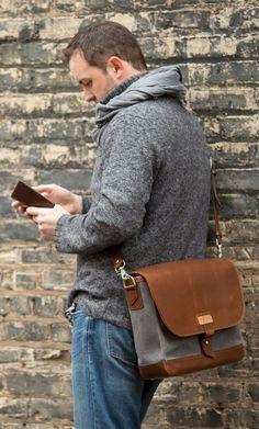 messenger bag man meets HUMPhooks permanent swivel purse hooks Result: happy ever after www.humphooks.com