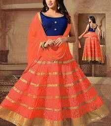 Buy Orange embroidered net Semi-stitched lehenga-choli ghagra-choli online