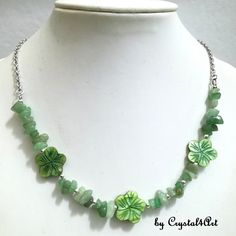 """""""Forest flower"""" necklace with green aventurine chips and mother of pearl flowers is suitable for casual outfits of the warm season. See more of my creation Flower Necklace, Beaded Necklace, Forest Flowers, Green Aventurine, Jewerly, Casual Outfits, Chips, Pearls, Handmade"""
