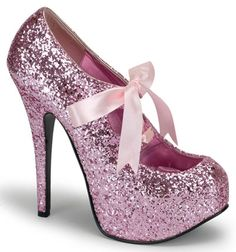 pink glitter heels, not sure I would ever have anything to wear these with but I really want them!