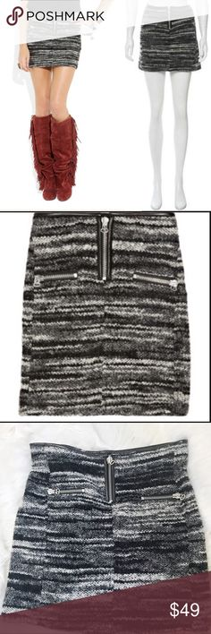 """Etoile Isabel Marant Nubby Tweed Mini Skirt Zip Adorable Tweed boucle leather trimmed mini withe exposed zippers and pockets. Size 3 or large(?). 31"""" waist, 36"""" hip, 16"""" length. Acrylic/wool blend. Isabel Marant Skirts Mini"""