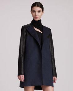 Pierre Balmain Leather-Sleeve Coat, 212 872 2843