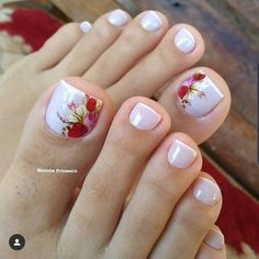 Toe Nail Designs give certain elegance to any woman's feet. Toe nail designs are beautiful and they complete the fashion look on every pedicure. Pretty Toe Nails, Cute Toe Nails, Cute Spring Nails, Summer Toe Nails, Toe Nail Color, Toe Nail Art, Acrylic Nails, Flower Toe Nails, Hair And Nails