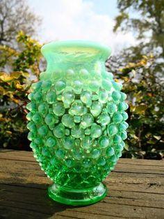 Opalescent Hobnail Vase