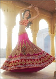 Rani pink embroidered lehenga by Kalki Indian Bridal Lehenga, Silk Lehenga, Anarkali, Indian Dresses, Indian Outfits, Indian Attire, Indian Wear, Hindu Girl, Bollywood Designer Sarees