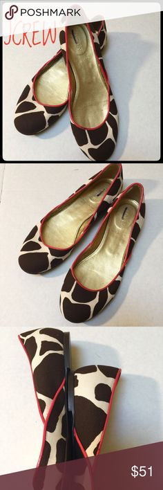 JCREW Canvas Flats Great used condition canvas Flats. Made in Italy . Brown and Cream pattern. Super Cute Rose Pink, piping. No Stains, scuffs or tears. The piping does have a few dark marks, when examined closely, inside is clean , Top looks new. Some wear on bottom, not much . Priced accordingly. Colorful Spring addition to your closet, nice with jeans or casual office day. Make me a fair offer  J. Crew Shoes Flats & Loafers