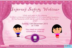 Hi everyone! Here is a gentle reminder of tomorrow's Internet Safety webinar  Link: https://plus.google.com/events/c9gt90bgqj93tgso2al48dg96ug?hl=en  Webinar Date: Dec 13th, Sunday, at 11 AM (Indian Standard Time IST)  What you'll learn in this webinar: -What is Internet & Digital Footprint? -Online Safety Guidelines  -Free Resources which can be used to make your family cyber smart  C u tomorrow!  #wisenetizen #google #India #webinar #parenting #internet
