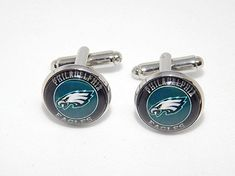 Philadelphia Eagles football cufflinks, Philadelphia Eagles logo jewelry, NFL football team, Philadelphia Eagles sports, wedding cufflinks