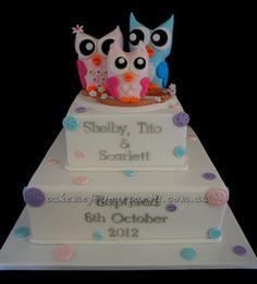 Triple/triplet owl cake for Baptism/Christening.