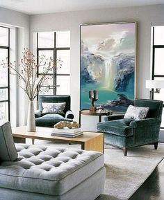 Abstract Oil Painting, Contemporary Art, Hand Paint Large Art, Oil Painting, Large Canvas Art - All For Decorations Transitional Living Rooms, Living Room Modern, Living Room Designs, Cozy Living, Small Living, Contemporary Living Room Decor Ideas, Transitional Decor, Living Area, Contemporary Interior Design