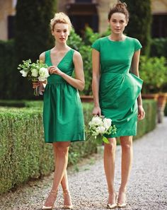 the dress on the right. please. // #green #wedding #bridesmaid