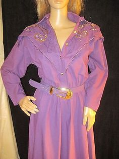 Vintage 1980's Purple Cotton Gold Sequins Western Dress by Lilia Smitty S/M