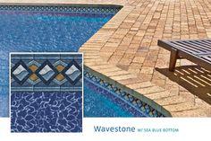 2015 Loop Loc Liner Options - Premier Pool & Spa - Wavestone with Sea Blue Bottom