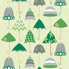 "17"" Rainy Days and Mondays for Riley Blake - Retro Umbrellas in Green -"
