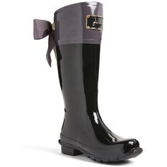 Women's Joules 'Evedon' Rain Boot (535 BRL) ❤ liked on Polyvore featuring shoes, boots, slate grey, rain boots, rubber boots, party boots, joules boots and riding boots
