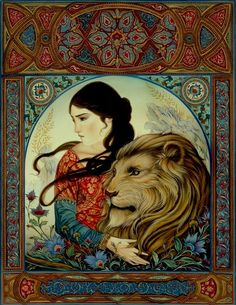 The Lady and the Lion - illustration Laurel Long for the retelling of the story by Jacqueline K Ogburn