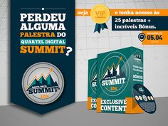 http://www.estrategiadigital.pt/queres-ser-um-vip-experience/ - Perdeste alguma palestra do Quartel Digital Summit 2014? Este evento foi verdadeiramente um marco gigante para muitos empresários, empreendedores digitais e afiliados. Hoje é a ÚLTIMA OPORTUNIDADE para garantires o teu acesso ilimitado e vitalício a cada uma das 25 palestras do Quartel Digital Summit e a todos os bónus do pacote Quero SER um VIP EXPERIENCE
