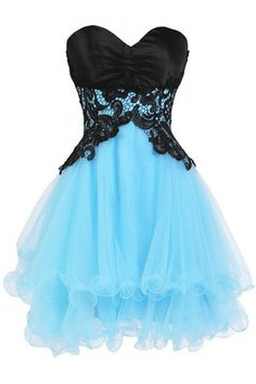 Hot Sweetheart Sleeveless Mini Blue Homecoming Dress with Black Appliques