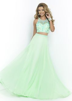 Blush 9916 Funky Honeydew Mint Green Beaded 2PC Two Piece Prom Gown