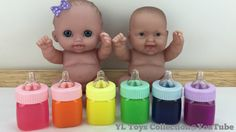 Baby Doll #45 - Baby Doll Plays Colours Slime Milk Bottle Fun for Kid