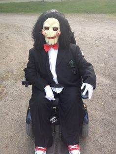 Saw Halloween wheelchair costume