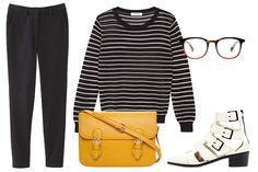 Apiece Apart Camilla High Waist Trouser, $310, available at Steven Alan. Sandro Sophistique Striped Knit Sweater, $355, available at Sandro. Loeffler Randall Yara Buckle Bootie, $395, available at Loeffler Randall. Forever 21 Runaround Faux Leather Satchel, $19.80, available at Forever 21. Warby Parker Durand Eyeglasses, $95, available at Warby Parker.