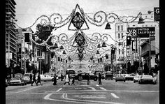 Nov. 15, 1972: The City of Santa Monica Christmas decorations hung on Wilshire Blvd. This photo was published on the front page of the Nov. 15, 1972 Los Angeles Times late edition. George Fry photo, on the front page.