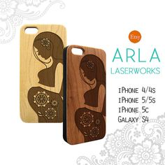 Wood Phone Case - Pregnency New Mom Mother - iPhone 4, 5, 5c, Galaxy S4 Laser Cut / Engraved Light Maple / Cherry