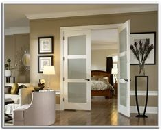 French doors with frosted glass for the bedroom - Interior French Doors with glass