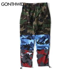 [Wish] Gonthwid Tri Color Camo Patchwork Cargo Pants Men'S Hip Hop Casual Camouflage Trousers Fashion Streetwear Joggers Sweatpants Military Pants, Cargo Pants Men, Plain Tees, Jogger Sweatpants, Colored Pants, Urban Outfits, Sweater Shirt, Mens Sweatshirts, Streetwear Fashion