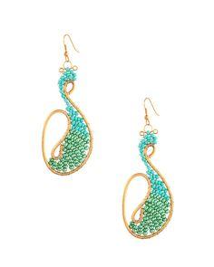 Fashionable Peacock Style Glass Bead Earrings