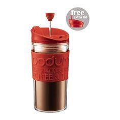 TRAVEL PRESS Set travel mug com prensa y tampa extra, 0.35 l Vermelho