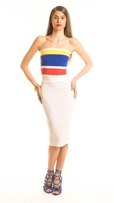 "Time is running out! Start packing for your 4th of July weekend get away...the ""Suzie"" Color Block Bandeau Crop Top is a must! #4thofjuly #marieannettenyc #manygirls #vacation #croptop #versatile #nycfashion #instafashion #goals #designer"