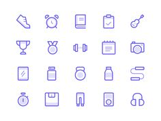 Workout Icons designed by Dmitri Litvinov. Connect with them on Dribbble; the global community for designers and creative professionals. Web Design, App Icon Design, Flat Design, Icons Web, Fitness Icon, Fitness App, Ios Icon, Best Icons, Letter Logo