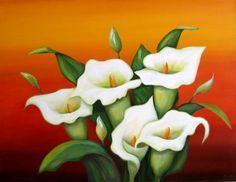 oil painted lily flower - Google Search