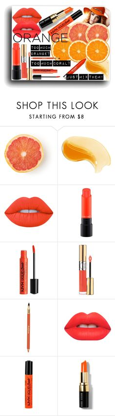 """ORANGE CRUSH"" by fancybonni on Polyvore featuring bellezza, Lime Crime, MAC Cosmetics, Yves Saint Laurent, Sisley, NYX, Bobbi Brown Cosmetics, coral, orange e mac"