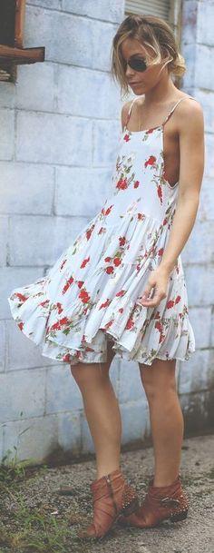 #boho #fashion #spring #outfitideas |Free People White Floral Boho Flounced Skirt Strappy Back Slip Dress