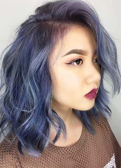 Blue Denim Hair Colors: Feathery Indigo Denim Side Part #denimhair #bluehair
